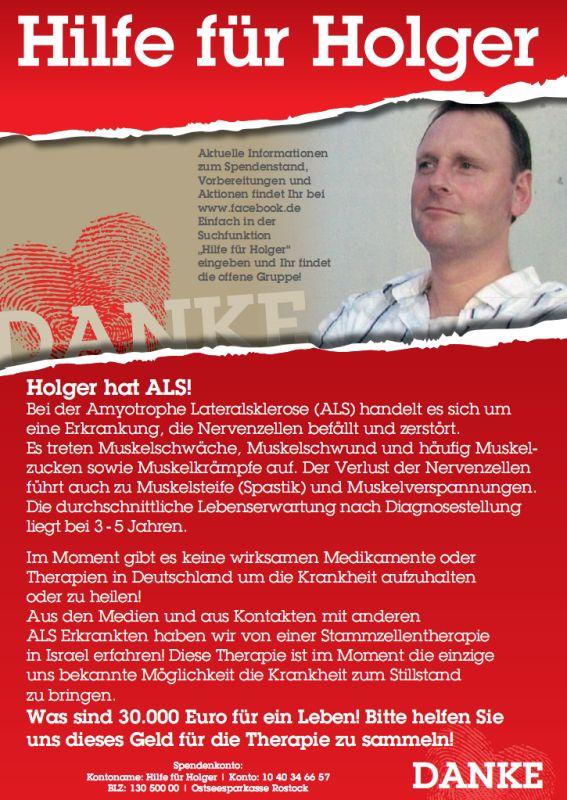 Spendenaufruf der Aktion Hilfe für Holger