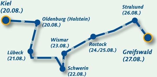Strecke der Regenbogenfahrt 2011